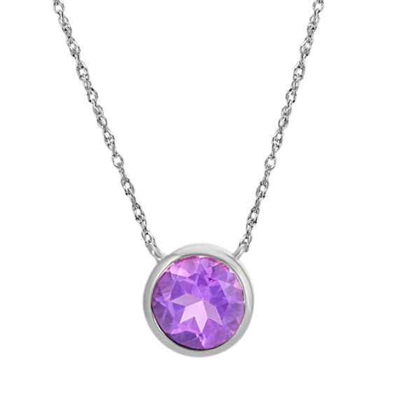 Bezel-Set Round Amethyst Necklace in 14k White Gold (18 in)