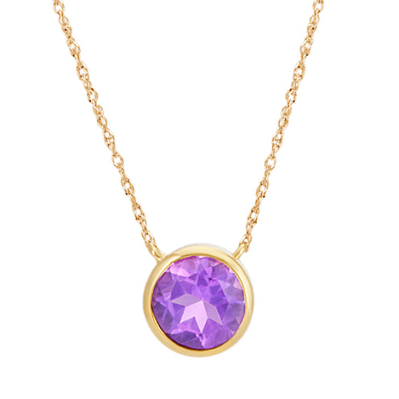 Bezel-Set Round Amethyst Necklace in 14k Yellow Gold (18 in)