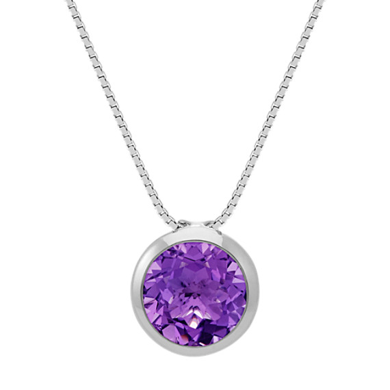 Bezel set round amethyst pendant in sterling silver 18 in bezel set round amethyst pendant in sterling silver 18 in aloadofball Image collections