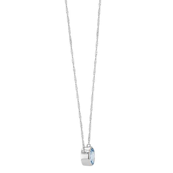 Bezel-Set Round Aquamarine Necklace in 14k White Gold (18 in) image
