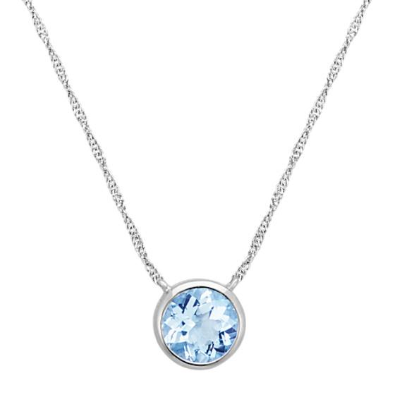 BezelSet Round Aquamarine Necklace in 14k White Gold 18 in
