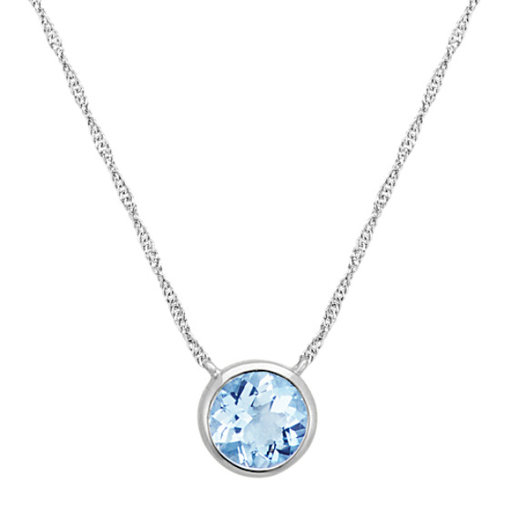 Bezel-Set Round Aquamarine Necklace in 14k White Gold (18 in)