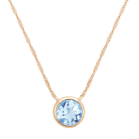 Bezel-Set Round Aquamarine Necklace in 14k Yellow Gold (18 in)