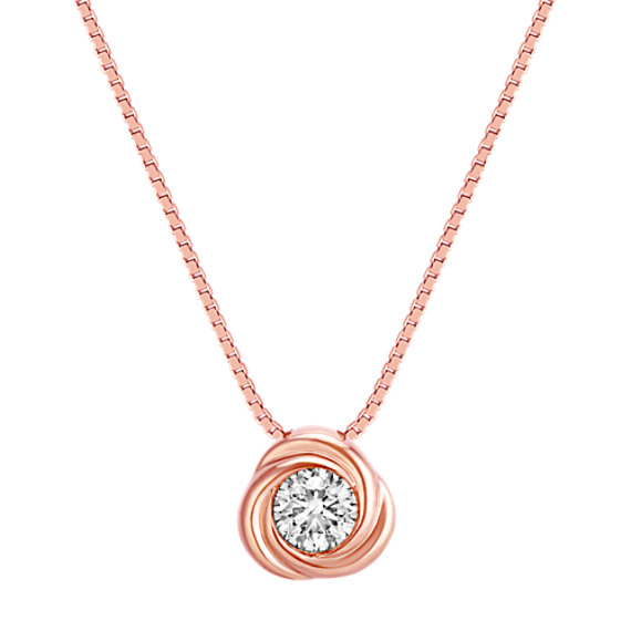 Bezel-Set Round Diamond Twirl Pendant in 14k Rose Gold (18 in)