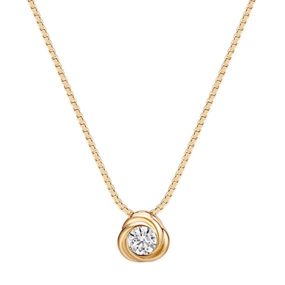 Bezel-Set Round Diamond Twirl Pendant in 14k Yellow Gold (18 in)