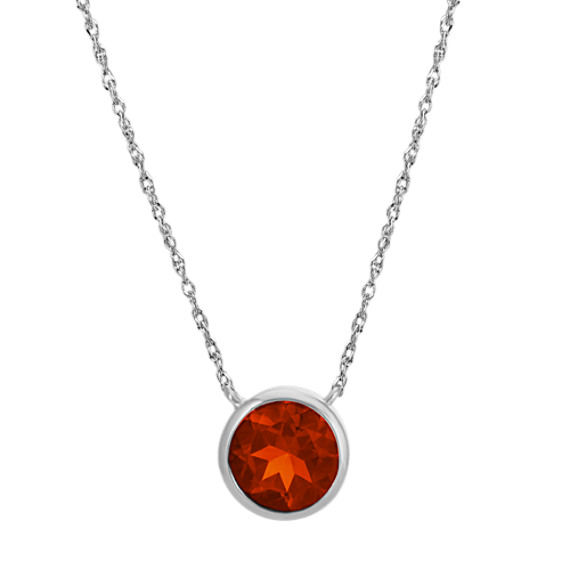 Bezel-Set Round Garnet Necklace in 14k White Gold (18 in)