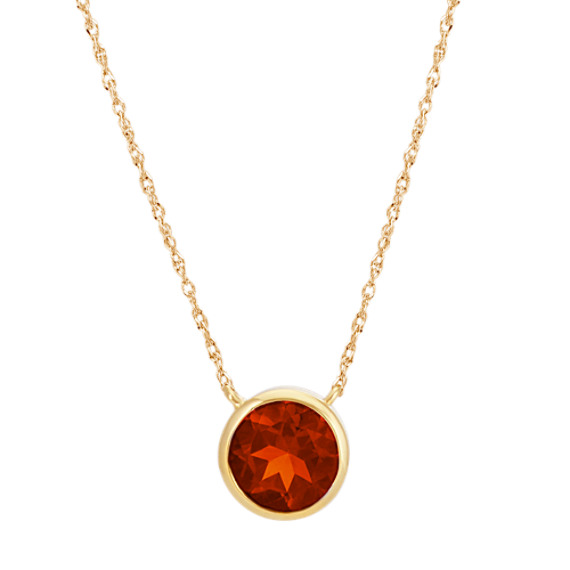 Bezel-Set Round Garnet Necklace in 14k Yellow Gold (18 in)