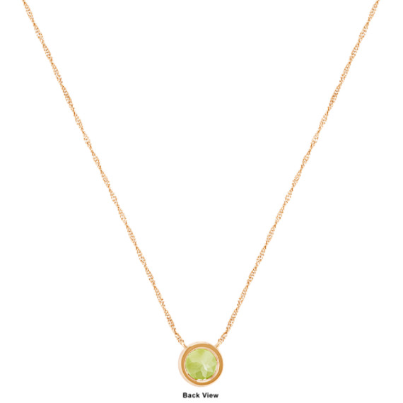 Bezel set round peridot necklace in 14k yellow gold 18 in shane co tap to zoom thumbnail aloadofball Gallery