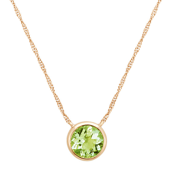 Bezel-Set Round Peridot Necklace in 14k Yellow Gold (18 in)