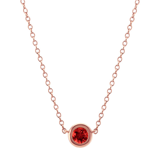 Bezel-Set Ruby Necklace in 14k Rose Gold (18 in)