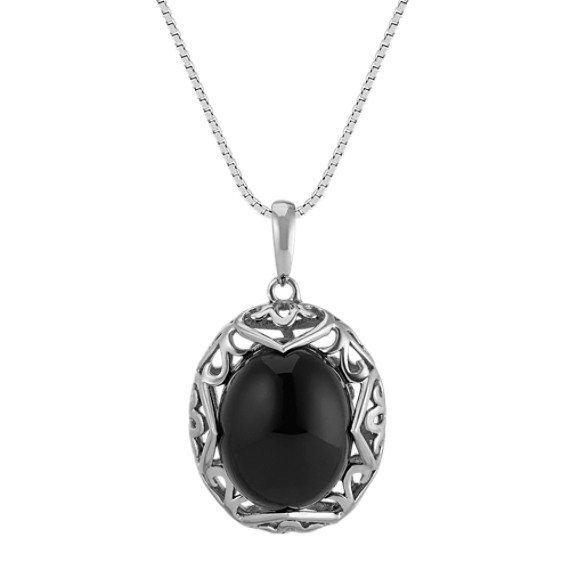 Black Agate Oval Vintage Sterling Silver Pendant (18 in)