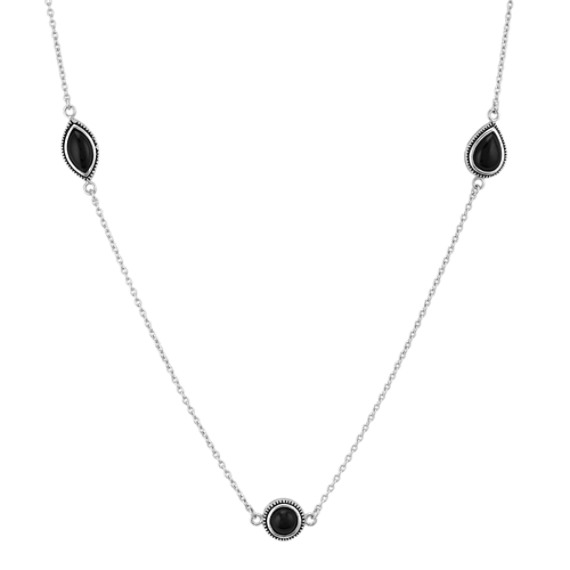 Black Agate and Sterling Silver Necklace (32 in)