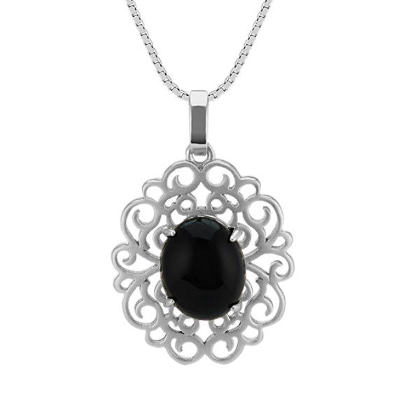 Black Agate and Sterling Silver Pendant (18 in)
