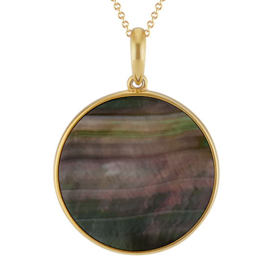 Black Mother of Pearl Circle Pendant in Yellow Sterling Silver (20 in)