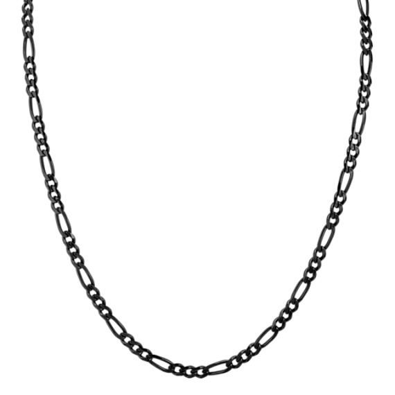 Black Rhodium Sterling Silver Figaro Necklace (24 in)