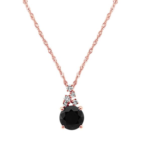 Black Sapphire and Diamond Pendant (20 in)