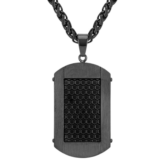 Black Stainless Steel Dog Tag Necklace (24 in)