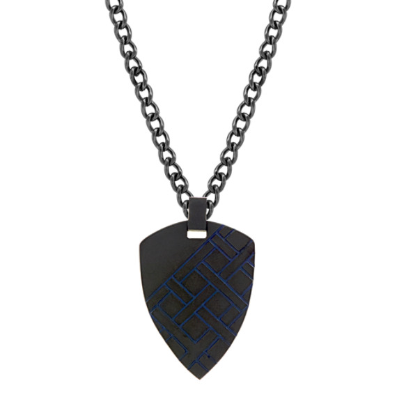 Black Stainless Steel Mens Pendant (24 in)