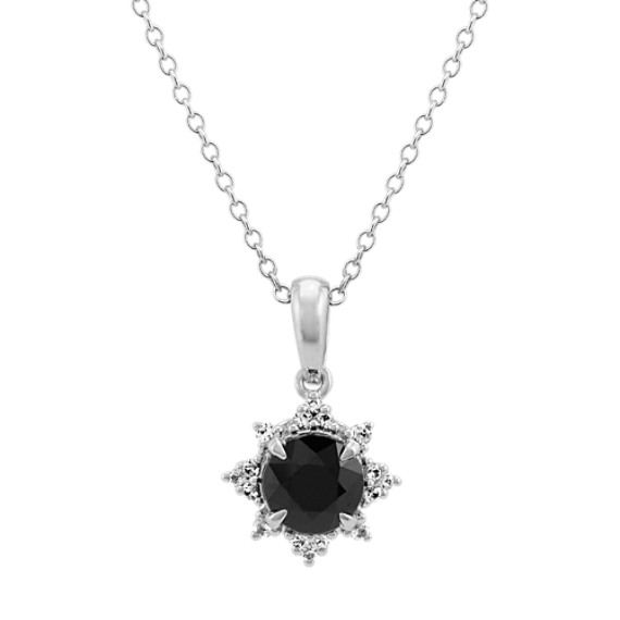 Black and White Sapphire Star Pendant (20 in)