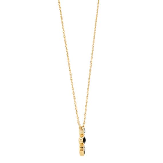 Black & White Sapphire Three-Stone Necklace (18 in) image