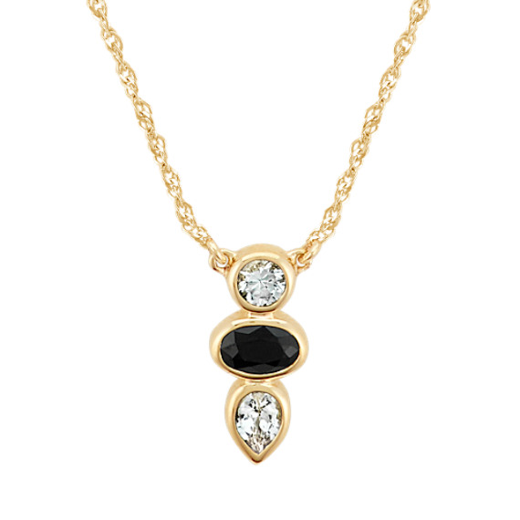 Black & White Sapphire Three-Stone Necklace (18 in)