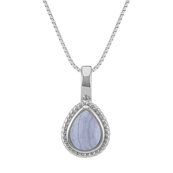 Blue Lace Agate Pendant in Sterling Silver (20 in)