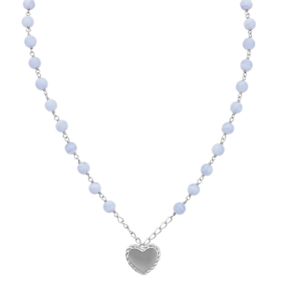 Blue Lace Agate and Sterling Silver Heart Necklace (18 in)