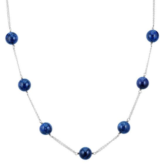 Blue Quartz and Sterling Silver Necklace (24 in)