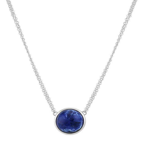 Blue Sodalite Double Chain Necklace in Sterling Silver (16 in)
