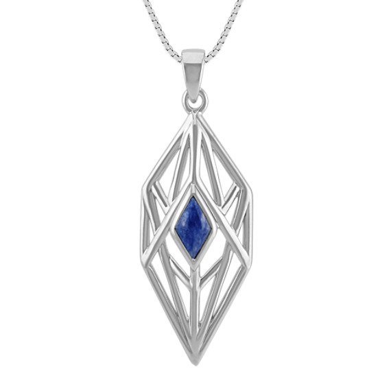 Blue Sodalite and Sterling Silver Pendant (18 in)