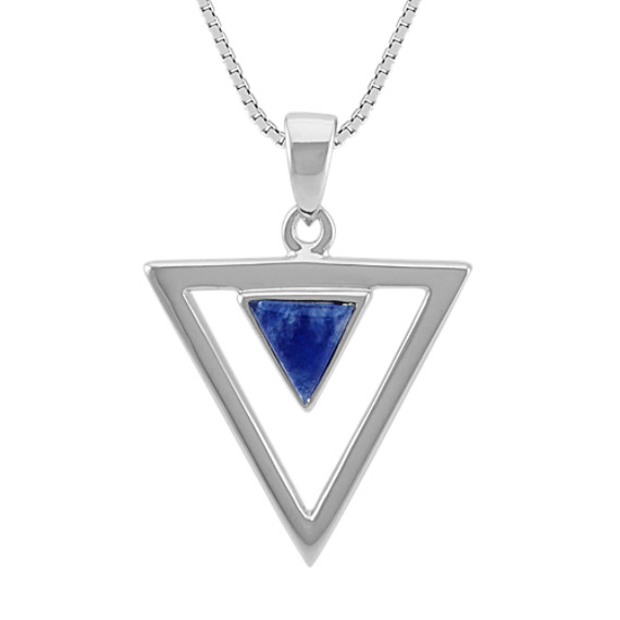 Blue Sodalite and Sterling Silver Triangle Pendant (18 in)