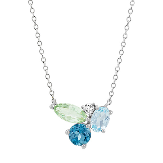 Blue Topaz, Green Quartz and White Sapphire Necklace (18 in)