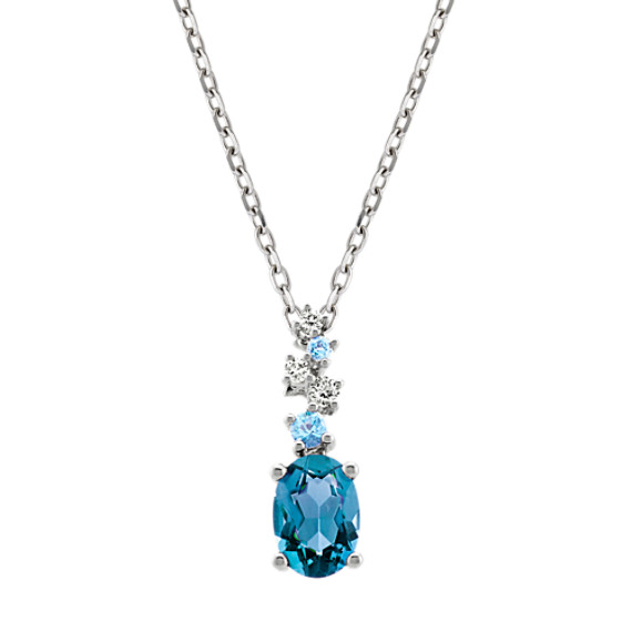 Blue Topaz and Diamond Pendant in Sterling Silver (18 in)