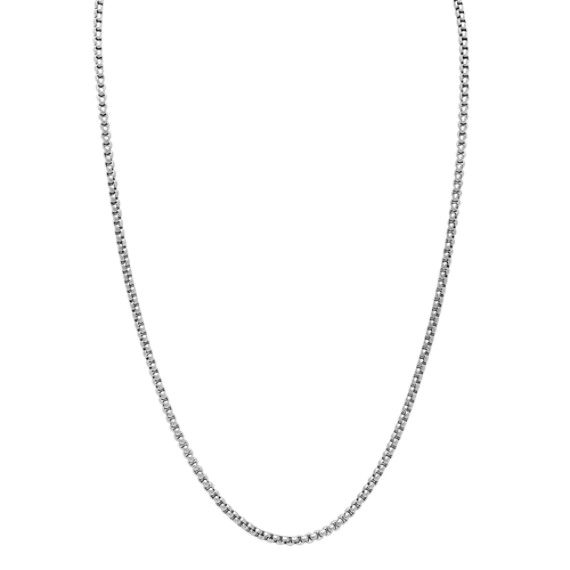 Box Chain Necklace in Stainless Steel (24 in)