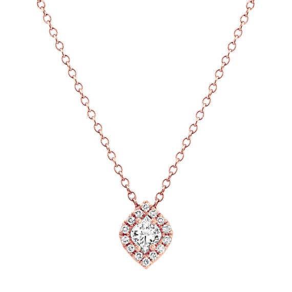 Calla Cut and Round Diamond Pendant (22 in)