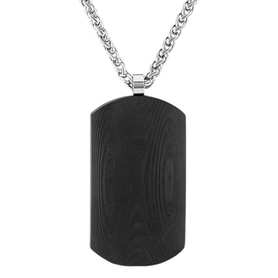 Carbon Fiber and Stainless Steel Dog Tag Necklace (24 in)