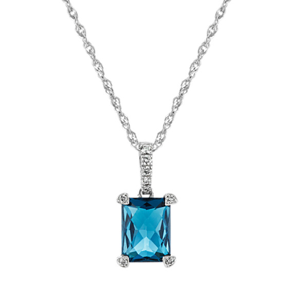 Checkerboard Cut London Blue Topaz and Diamond Pendant (20 in)