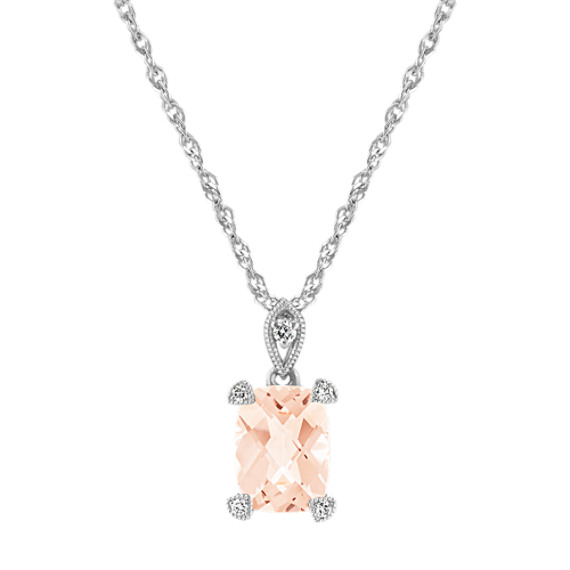 Checkerboard Cut Morganite and Diamond Pendant in Sterling Silver (20 in)