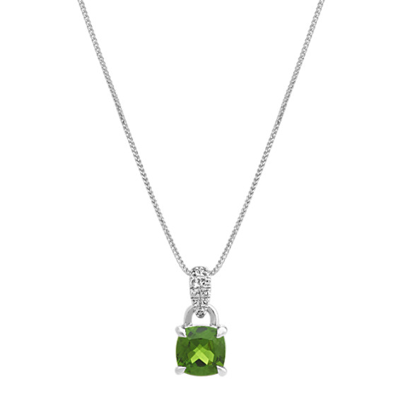 Chrome Diopside and White Sapphire Pendant (22 in)