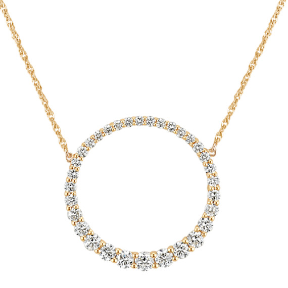 Circle Diamond Necklace (18 in)