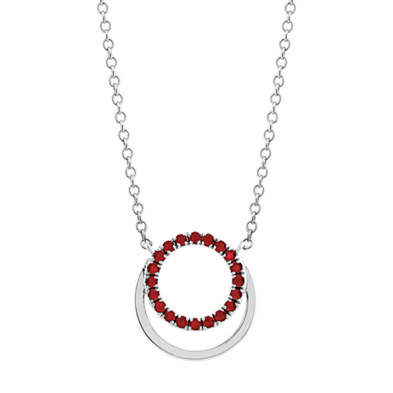 Circle Ruby Pendant in Sterling Silver (18 in)
