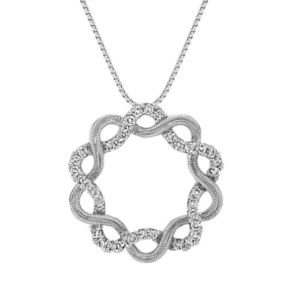 Circle Swirl Diamond Pendant in 14k White Gold (19 in)