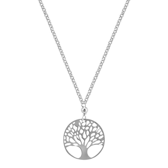 Circle Tree of Life Necklace in Sterling Silver (18 in)