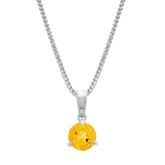 Citrine Solitaire Pendant in Sterling Silver (22 in)