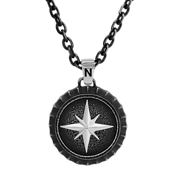 Compass Stainless Steel Necklace with Black Ionic Plating (25 in)