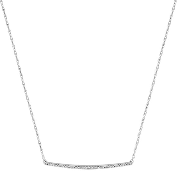 Contemporary Round Diamond Bar Necklace (18 in)