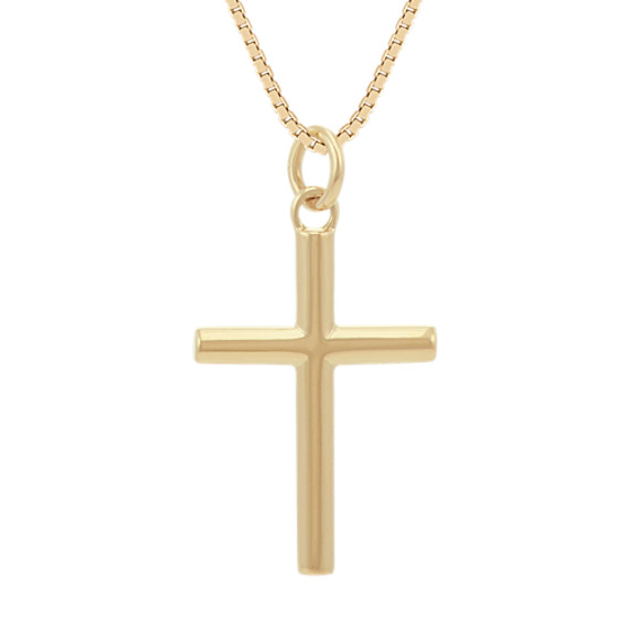 Cross Necklace in 14k Yellow Gold (24 in)