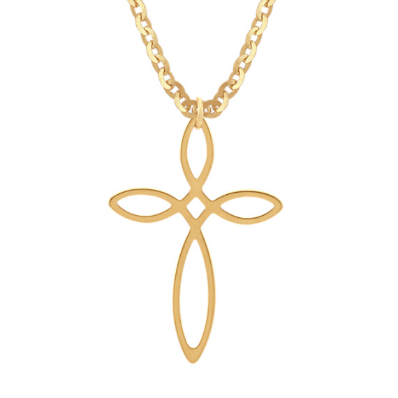 Cross Pendant in 14k Yellow Gold (18 in)