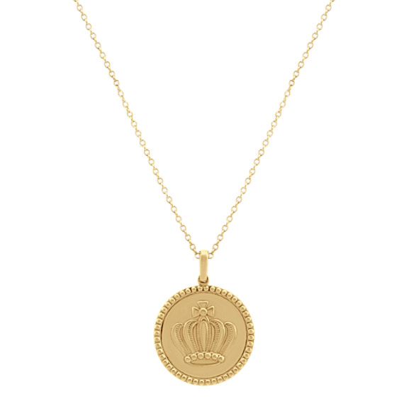 Crown Pendant in 14k Yellow Gold (24 in)