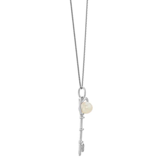 Cultured Freshwater Pearl & Diamond Key Pendant (20in.) image